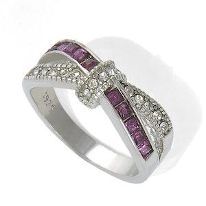 Ring med lila kristaller 17.5 mm
