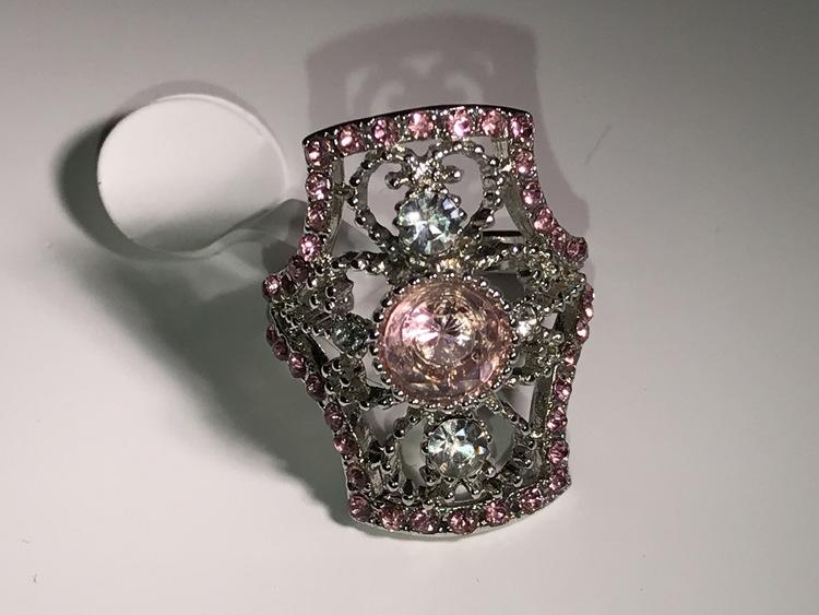 Ring med rosa kristall 17 mm