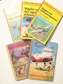 W E Johns, Wahlströms pocket Biggles, olika titlar