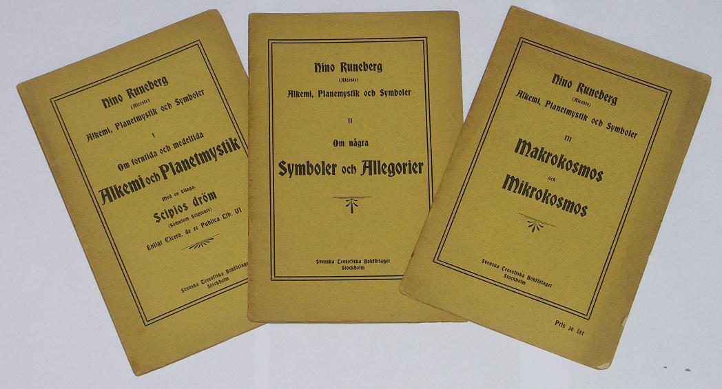 """Runeberg, Nino, SERIEN ALKEMI, PLANETMYSTIK OCH SYMBOLER I-III """"Alkemi och Planetmystik"""" + """"Symboler och Allegorier"""" + """"Makrokosmos och Mikrokosmos"""" UNIK ORIGINALUTGÅVA, SLUTSÅLD"""