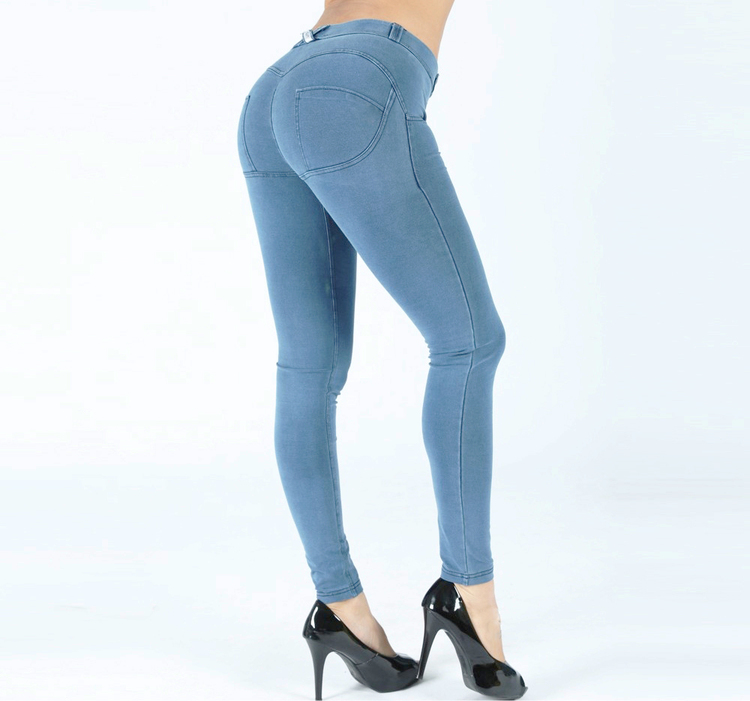 Denim shaping tights low waist