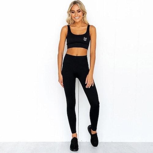 Chia ribbed black Gym/yoga-set