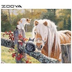 Diamanttavla Pony And Cats 40x50