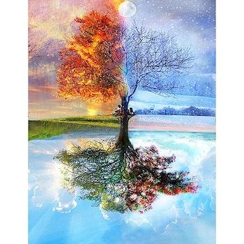 Diamanttavla Four Season Tree 50x70