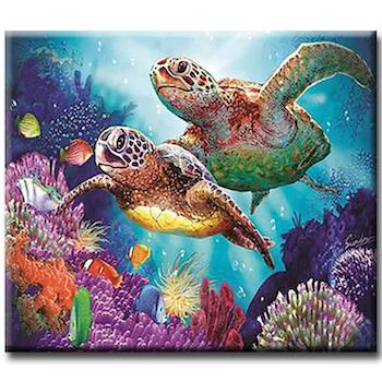 Diamanttavla (R) Ocean Turtles 40x50