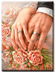 Diamanttavla Rose Hands Rings 40x50