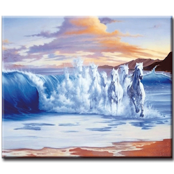 Diamanttavla Wave Horses 50x70