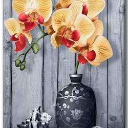 Diamanttavla Yellow Orchid And Shell 40x50