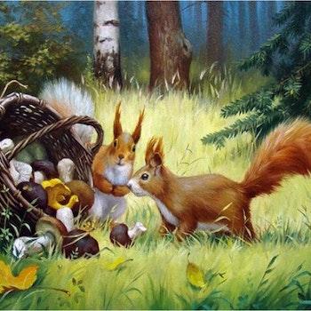 Diamanttavla Squirrel And Mushrooms 40x50