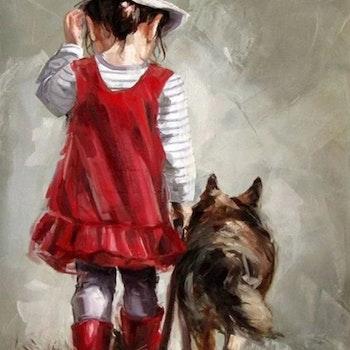 Diamanttavla Girl With Dog 40x50