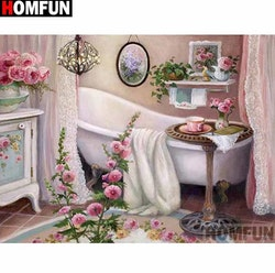 Diamanttavla (R) Bathroom Flower 40x50