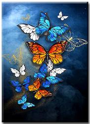 Diamanttavla Golden And White Butterflies 40x50