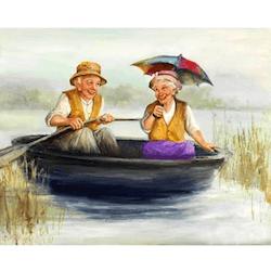 Diamanttavla (R) Old Couple In Boat 40x50
