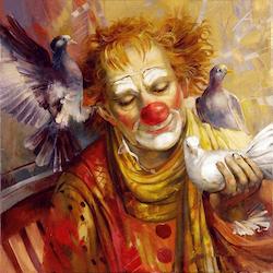 Diamanttavla Clown Med Duvor 50x50