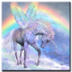 Diamanttavla Unicorn And Rainbow 50x50