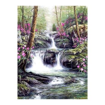 Diamanttavla Forest Waterfall 60x90