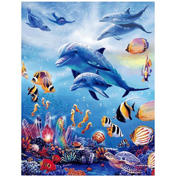 Diamanttavla Ocean Dolphins 40x50