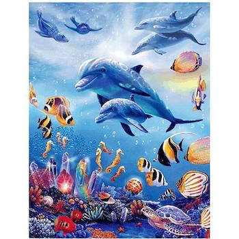 Diamanttavla Ocean Dolphins 40x50 - Leveranstid 1-3 Dagar