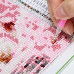 Diamanttavla (R) Butterflies Flowerbasket 60x60 - Leveranstid 1-3 Dagar