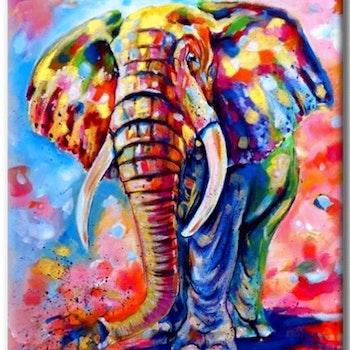 Diamanttavla Färgglad Elefant 40x50 - Leveranstid 1-3 Dagar