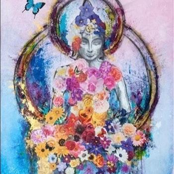 Diamanttavla (R) Circle Buddha Flower 40x50 - Leveranstid 1-3 Dagar