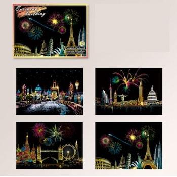 Scratch Painting  4-Pack Vykort Cities Celebrations 20x14 cm- Leveranstid 1-3 Dagar