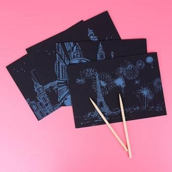 Scratch Painting  4-Pack Vykort Asia 20x14 cm- Leveranstid 1-3 Dagar
