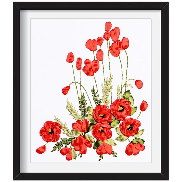 Broderi Med Band Poppy 40x50