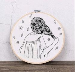 Övriga Broderier Sketched Girl 20x20