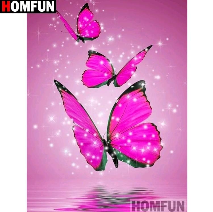 Diamanttavla Pink Butterfly 30x40