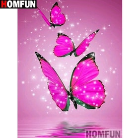 Diamanttavla Pink Butterfly 30x40