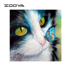Diamanttavla (R) Cat And Butterfly 40x40