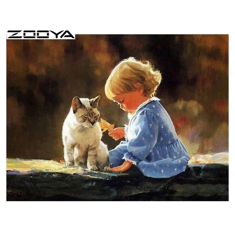 Diamanttavla  (R) Girl With Cat 40x50