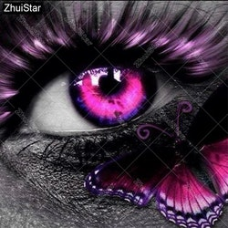 SNART I BUTIK - Diamanttavla Pink Butterfly Eye 40x40