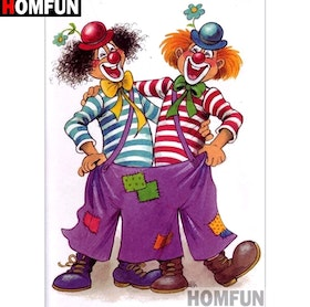 Diamanttavla Funny Clowns 40x50