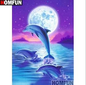Diamanttavla Dolphin Big Moon 20x30