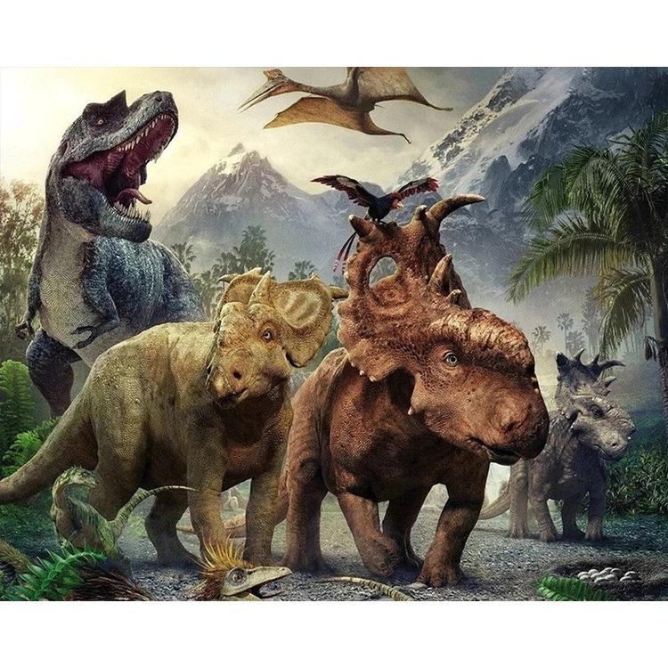 Diamanttavla Dinosaur World 50x70