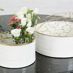 Emaljkruka/Vas Vit Guld 2-Pack