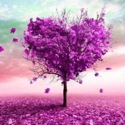 Diamanttavla Purple Tree 40x40
