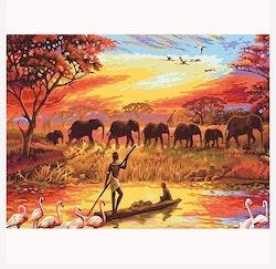 Diamanttavla Elephant Sunset 40x50
