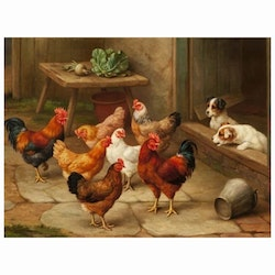 Diamanttaval Hens And Dogs 40x50