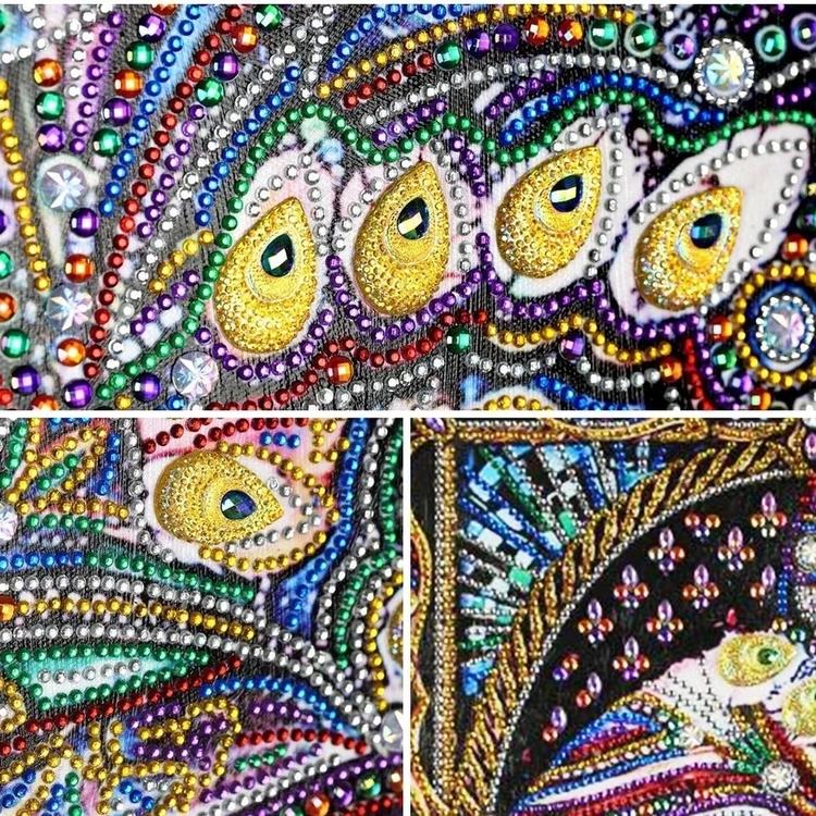 Diamanttavla Special Cat Peacock 40x50