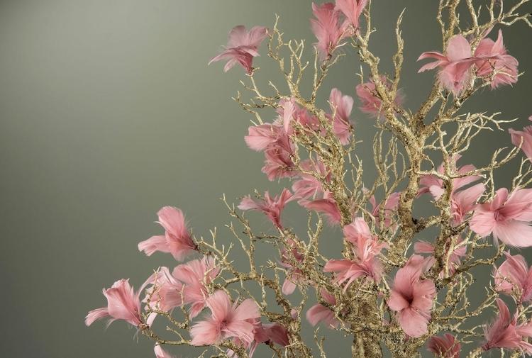 Fjäder Blom Gammelrosa 12-Pack