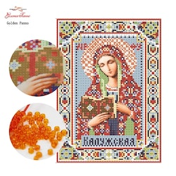 Pärlbroderi Holy Mary Russia 17x23 cm