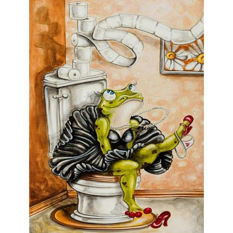 Toilet Frog 30x40. Diamanttavla fyrkantiga pärlor.