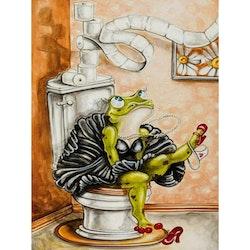 Diamanttavla Toilet Frog 30x40
