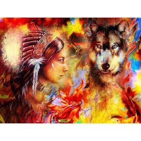 Diamanttavla Indianwoman And Wolf 40x50