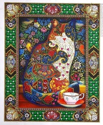 Diamanttavla Special Cat Green 40x50
