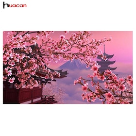 Diamanttavla (R) Chinese Cherrytree Mountain 30x50