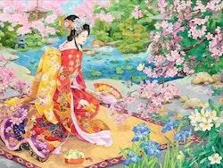 Diamanttavla Geisha in Garden 40x50